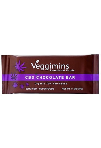 Veggimins Raw Chocolate Bar with 50mg CBD + Superfoods