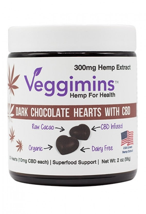 Veggimins Raw Dark Chocolate Hearts with CBD