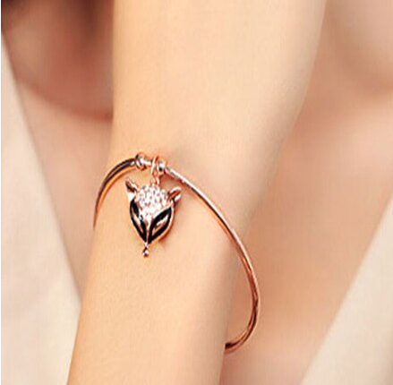 Cubic Zirconia Fox Gold Bangle Bracelet For Women