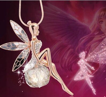 Crystal Fairy Angel Wing Pendant Long Chain Sweater Necklace