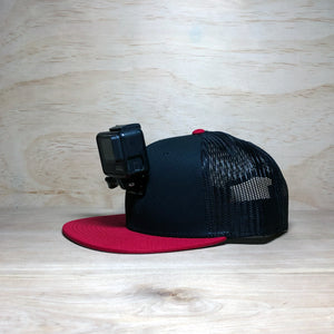 #ActionHatCustom: Black Mesh Back Red Flat Bill