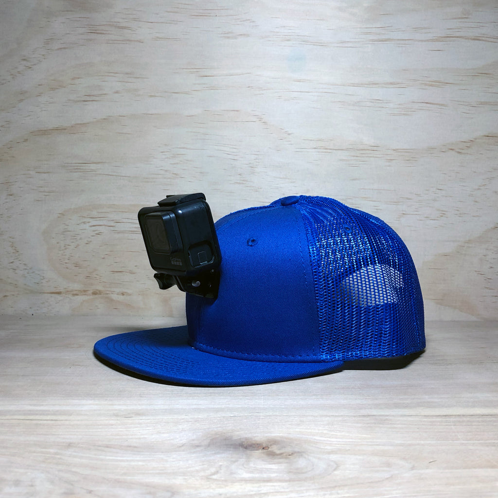 #ActionHatCustom: Blue Mesh Back Flat Bill