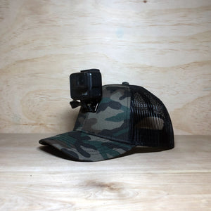 #ActionHatCustom: Camo Mesh Back Curved Bill - Hat Mount for GoPro
