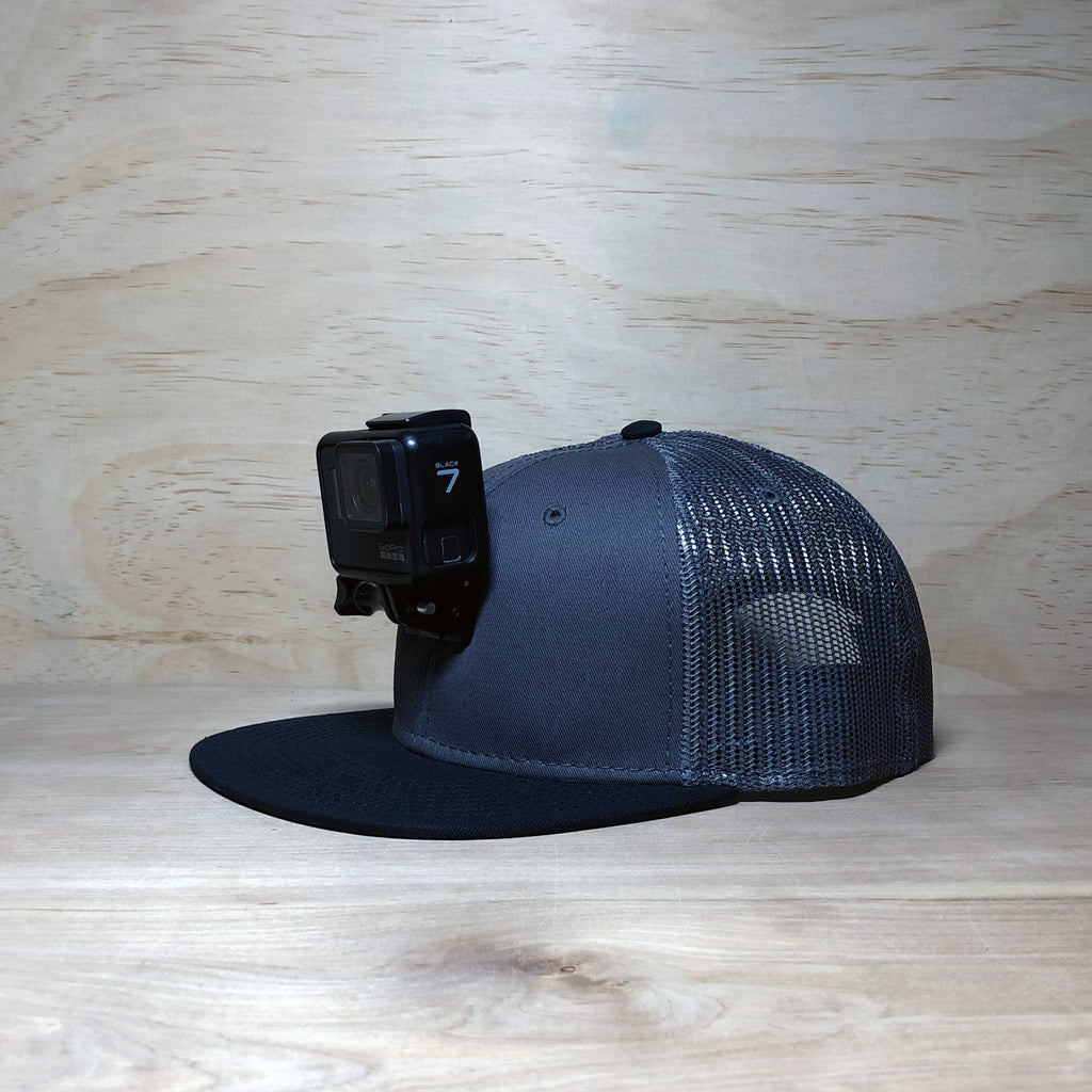 #ActionHatCustom: Charcoal Mesh Black Flat Bill
