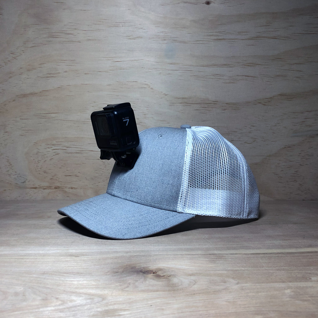 #ActionHatCustom: Twill White Mesh Curved Bill