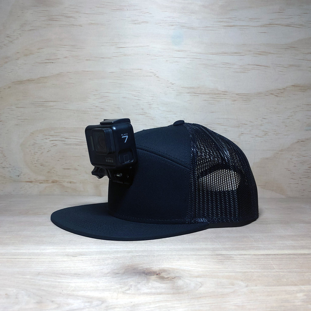 #ActionHatCustom: Black Mesh 7-Panel Flat Bill