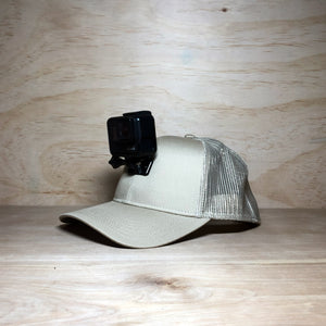 #ActionHatCustom: Khaki Mesh Back Curved Bill - Hat Mount for GoPro