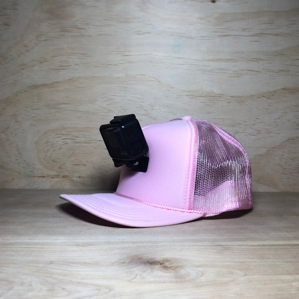 #ActionHatCustom: Pink Foam Mesh Back Curved Bill - Hat Mount for GoPro
