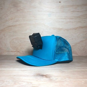 #ActionHatCustom: Turquoise Foam Mesh Back Curved Bill - Hat Mount for GoPro