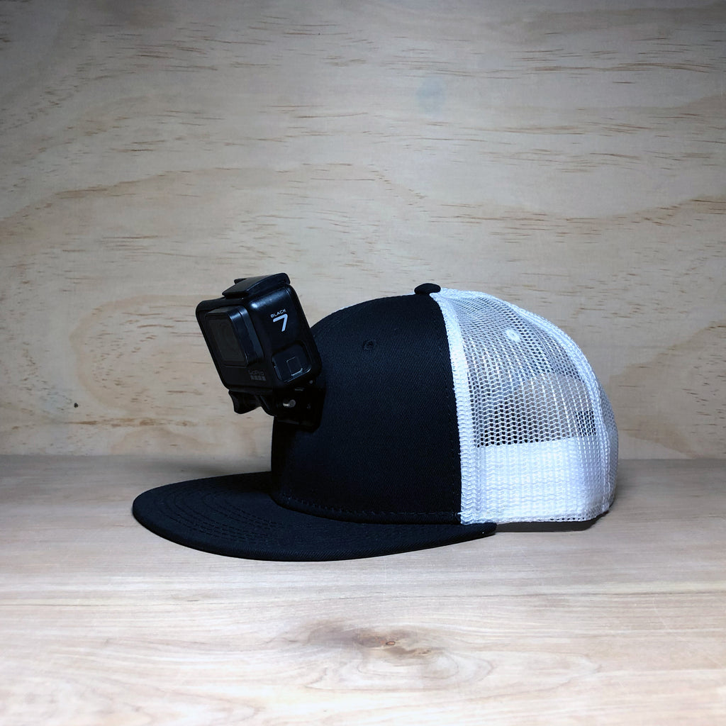 #ActionHatCustom: Black White Mesh Flat Bill