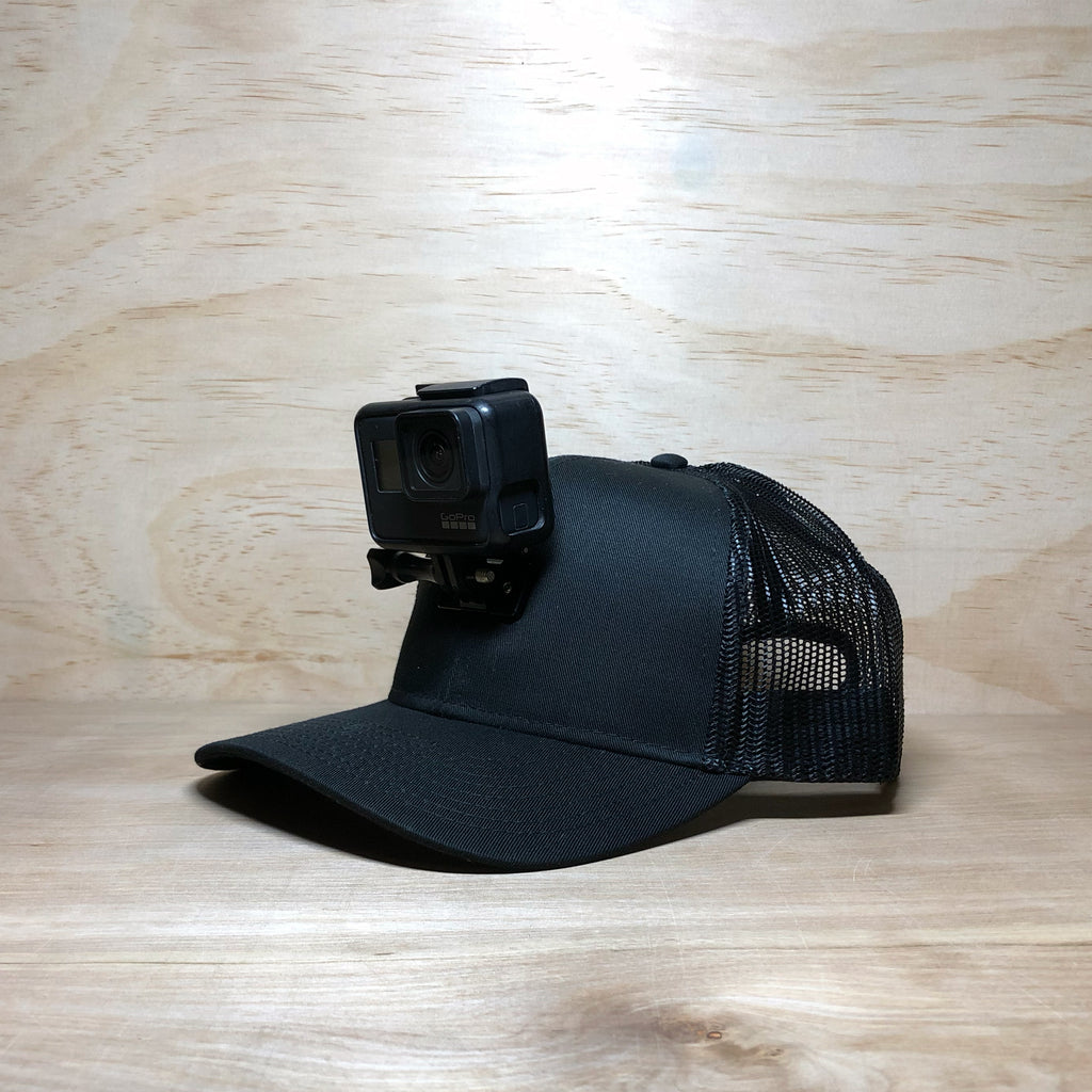 #ActionHatCustom: Black Mesh Back Curved Bill - Hat Mount for GoPro