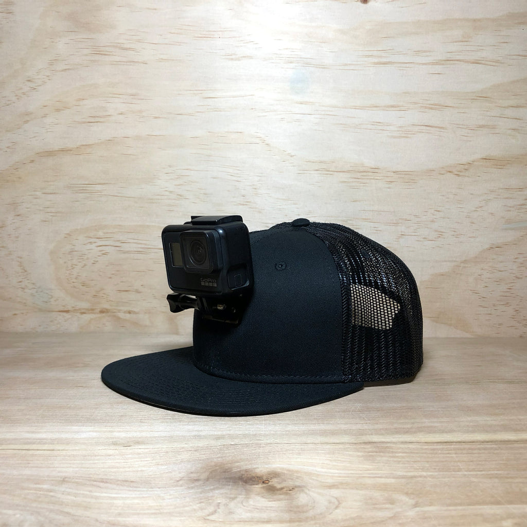 #ActionHatCustom: Black Mesh Back Flat Bill - Hat Mount for GoPro