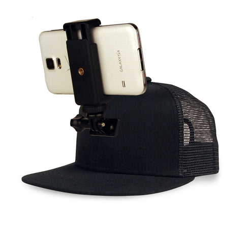 ActionHat for Phones: Black Mesh Flat Bill