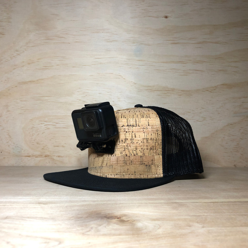 #ActionHatCustom: Cork Mesh Back Flat Bill - Hat Mount for GoPro