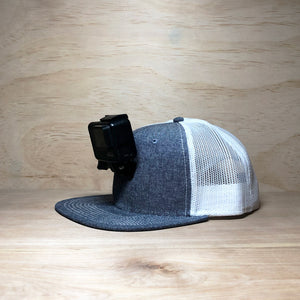 #ActionHatCustom: Denim White Mesh Flat Bill