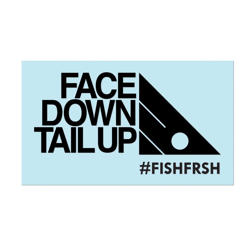 "#FACEDOWNTAILUP - 6"" Black Decal - Hat Mount for GoPro"