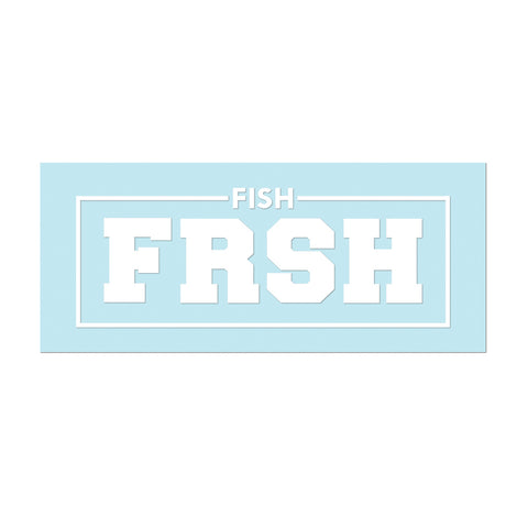 "Decals: 11"" Vinyl #FishFRSH - White - Hat Mount for GoPro"