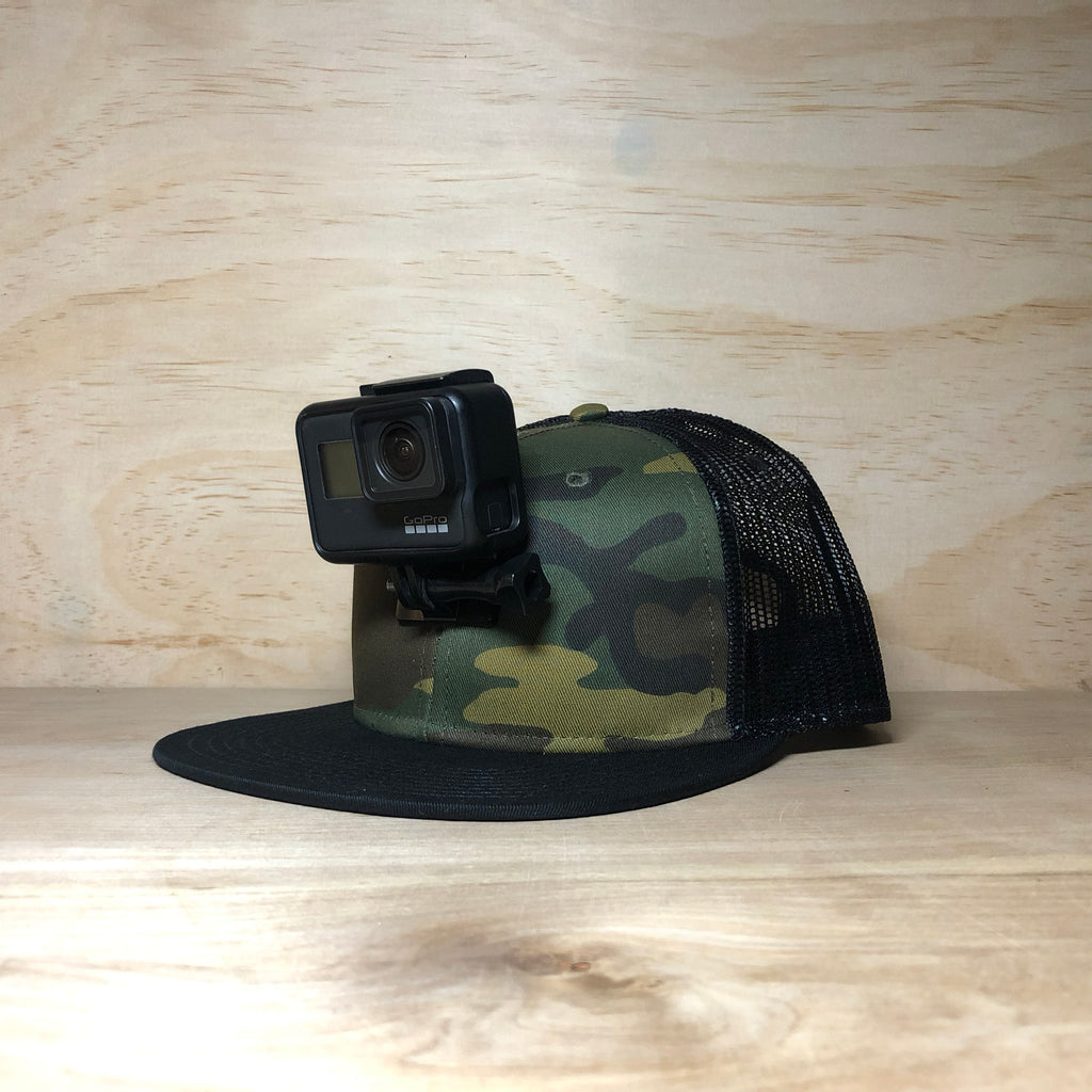 #ActionHatCustom: Camo Mesh Back Flat Bill - Hat Mount for GoPro