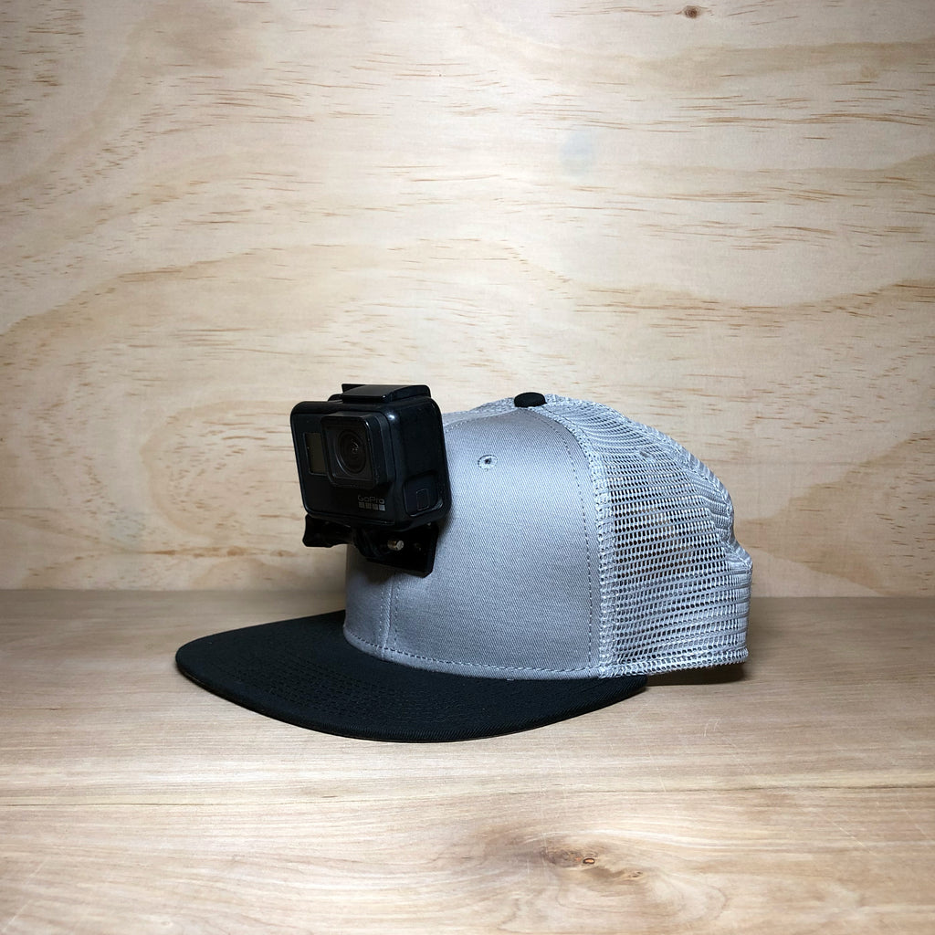 #ActionHatCustom: Gray Mesh Back Flat Bill - Hat Mount for GoPro