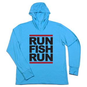 #RUNFISHRUN TriBlend Hoodie Shirt - Black - Hat Mount for GoPro