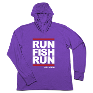 #RUNFISHRUN TriBlend Hoodie Shirt - White - Hat Mount for GoPro