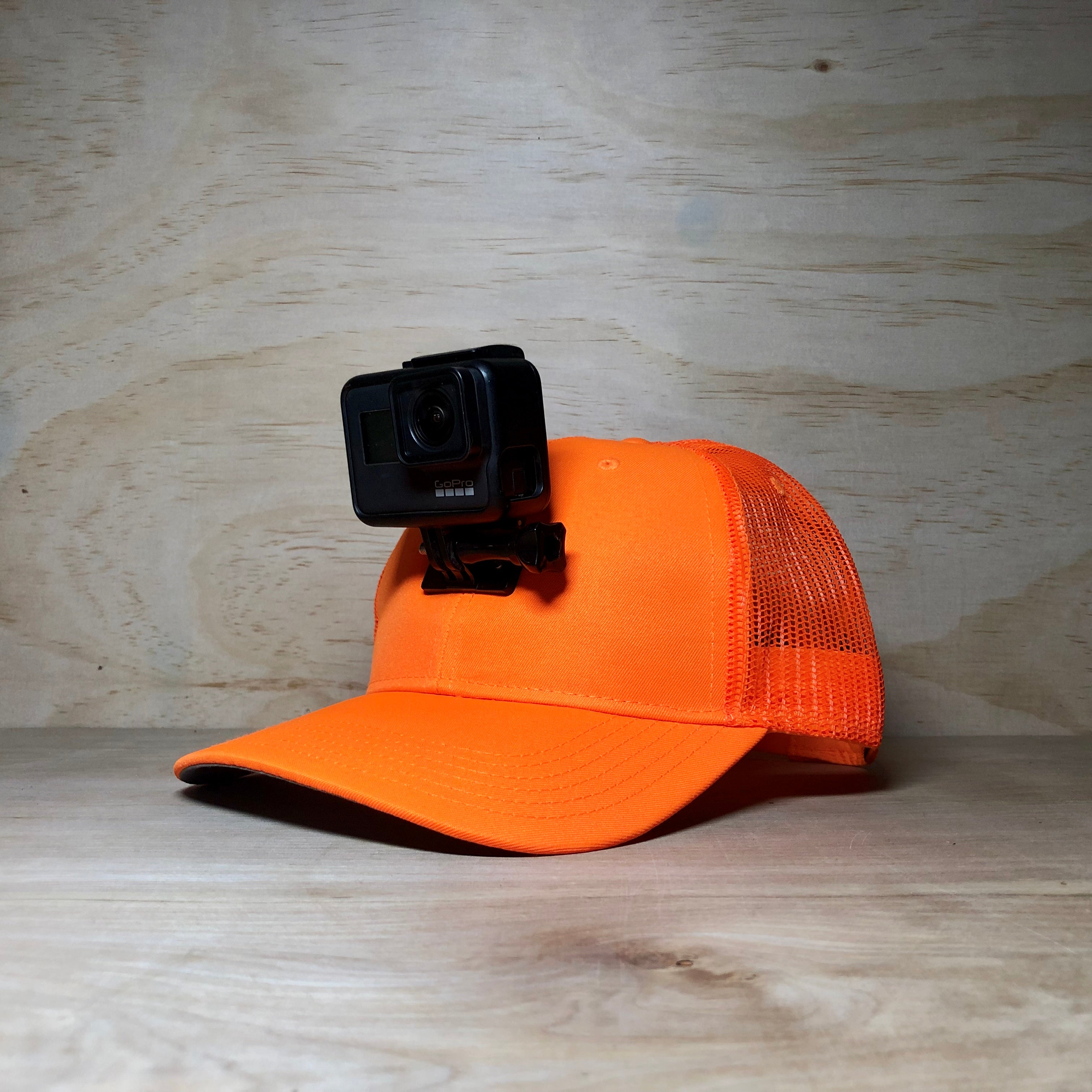 #ActionHatCustom: Hunter Orange Mesh Back Curved Bill - Hat Mount for GoPro