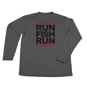 #RUNFISHRUN YOUTH Performance Long Sleeve Shirt - Black - Hat Mount for GoPro