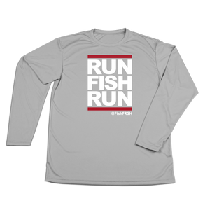 #RUNFISHRUN YOUTH Performance Long Sleeve Shirt - White - Hat Mount for GoPro