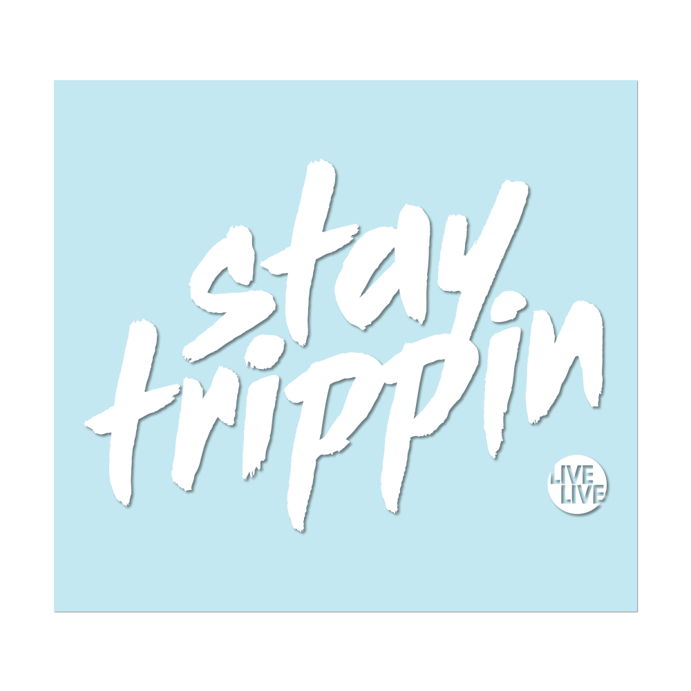 "#STAYTRIPPIN TAG - 6"" White Decal - Hat Mount for GoPro"