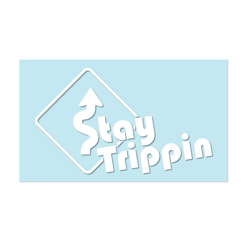 "#STAYTRIPPIN SIGN - 11"" White Decal - Hat Mount for GoPro"