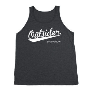 #OUTSIDER TriBlend Tank Top - White Print - Hat Mount for GoPro