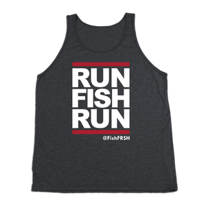 #RUNFISHRUN TriBlend Tank Top - White Print - Hat Mount for GoPro