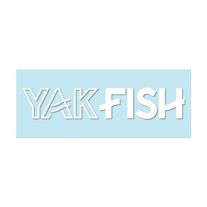 "#YAKFISH Logo - 11"" White Decal - Hat Mount for GoPro"