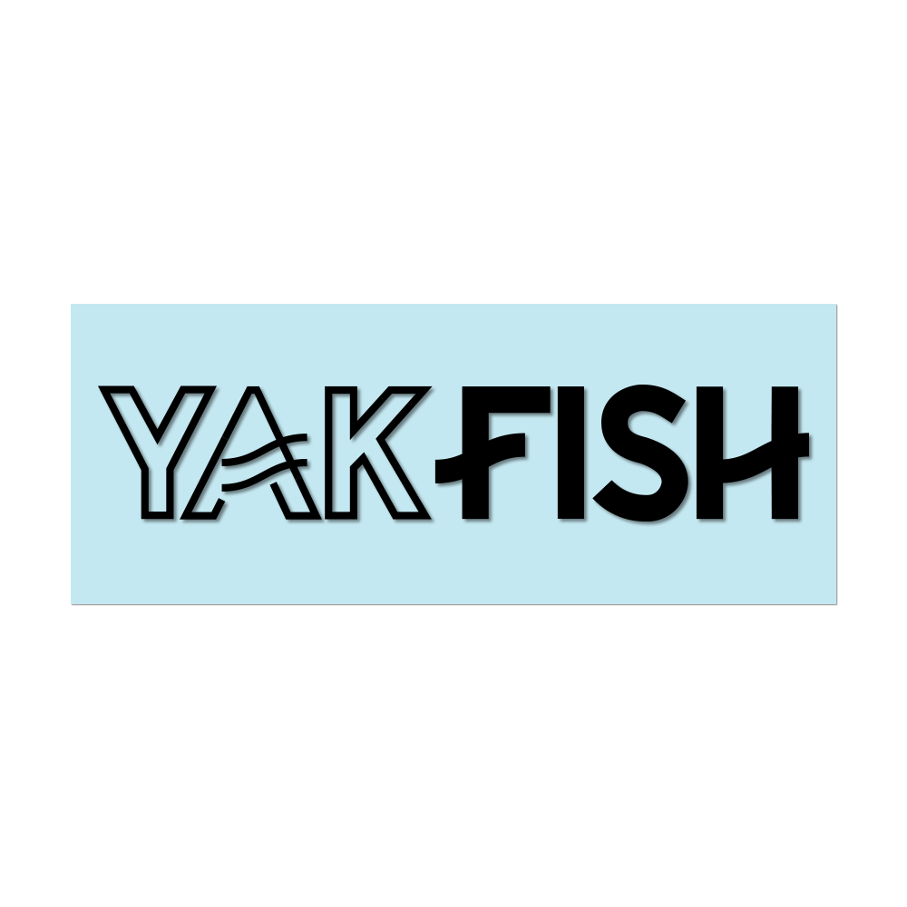 "#YAKFISH Logo - 6"" Black Decal - Hat Mount for GoPro"