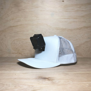 #ActionHatCustom: White Foam Mesh Back Curved Bill - Hat Mount for GoPro