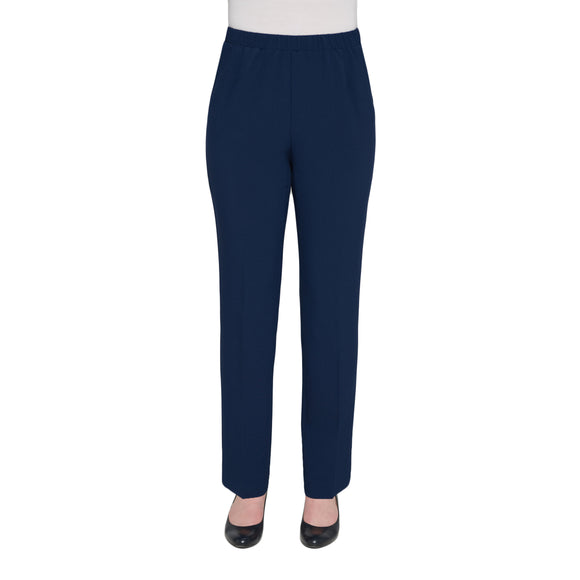 Pull-On Textured Modern Straight Leg Pant in Navy