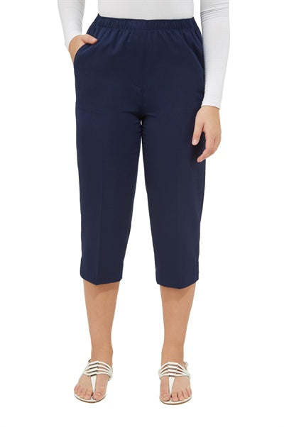 Twill Pull-On Capris in Navy