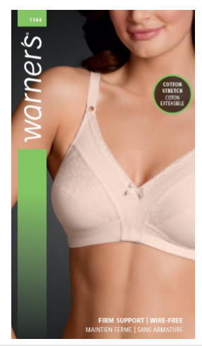 Warners 1544 Bra with Cotton Size B 34-40 and Size C, D, DD 34-42