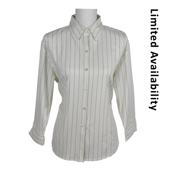 Ladies Juli Blouse White with Black stripe