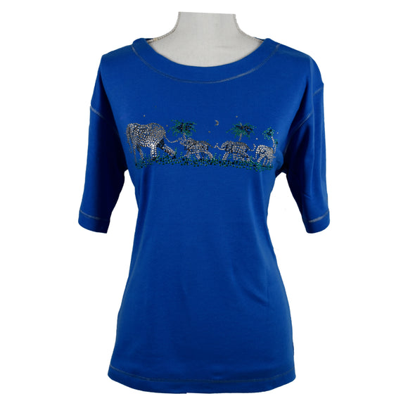 T-Shirt, Blue, Elephants