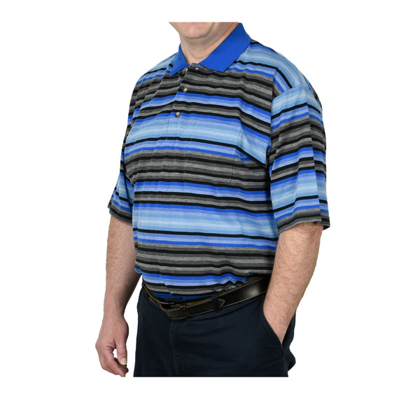 Men Polo Shirt Short Sleeve Jacquard Striped Knit - Blue