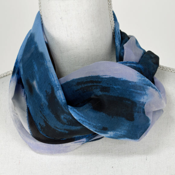 Tan Jay Scarf Blue Wave