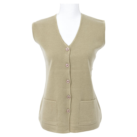 Vest with Pockets Plus Sizes in Beige