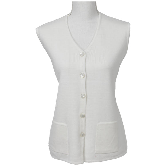 Vest with Pockets Plus Sizes in White