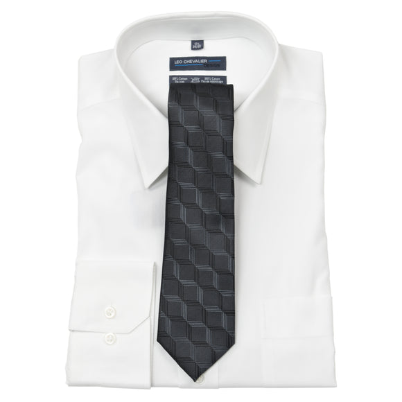 Tie with Pocket Square Grey and Black Block