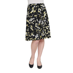 Print Jersey Knit Pull-On Gored Skirt - Plus Sizes