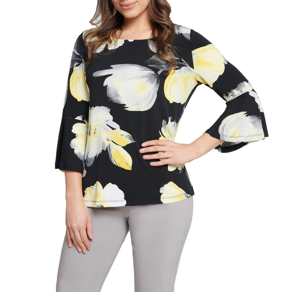 Bell Sleeve Floral Print Jersey Top