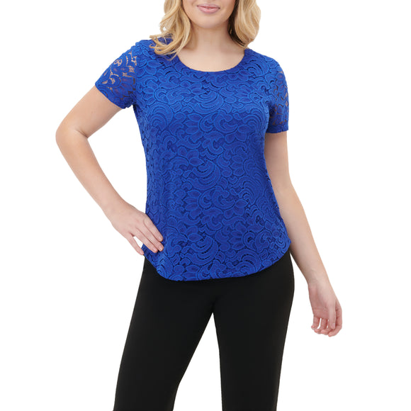 Scroll Lace Knit Scoop Neck Top in Cobalt, White, Turquoise & Pink