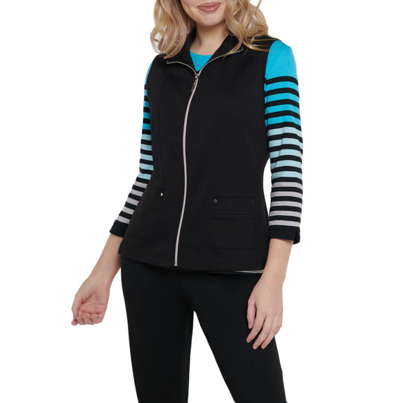 Vest With Front Zipper in Black