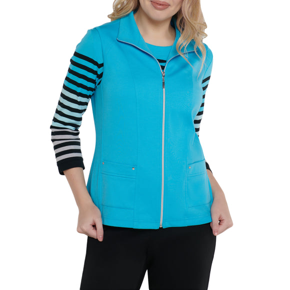 Vest With Front Zipper in Turquoise